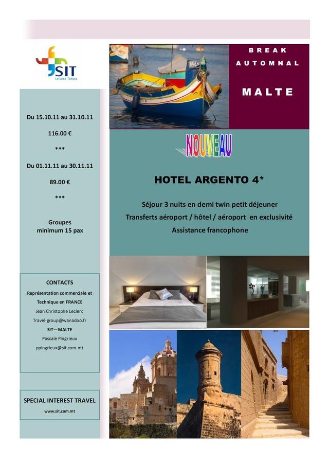 SIT vous présente le nouvel hôtel qui ouvre à Malte: L'ARGENTO