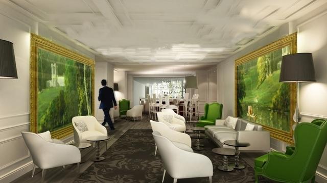 Le thème floral utilisé ici dans la décoration du bar et du hall de l'hôtel Renaissance le Parc.