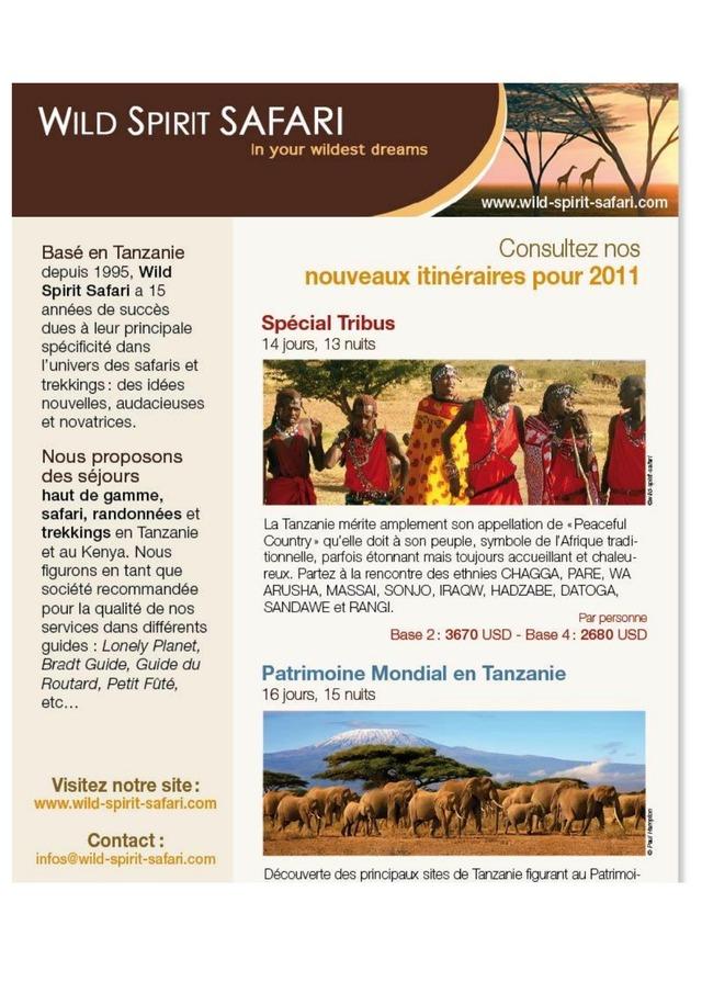 TANZANIE  itinéraires thématiques 2011 WILD SPIRIT SAFARI