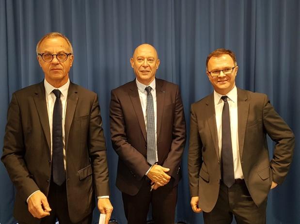 Jean-Paul Ourliac, président du conseil de surveillance, Philippe Bernand, président du directoire et Julien Boullay, directeur commercial, marketing et communication de l'aéroport de Marseille - DR : A.B.