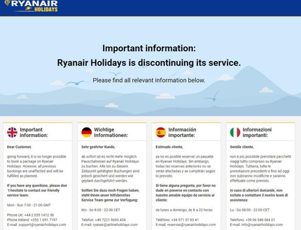 Sur le site, un message bref informe les clients de l'arrêt des ventes - DR : Capture d'écran Ryanair Holidays