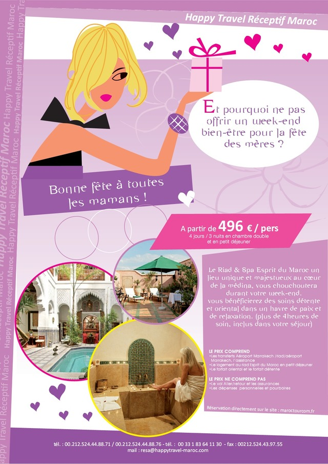 happy travel maroc offre sp ciale f te des m res. Black Bedroom Furniture Sets. Home Design Ideas