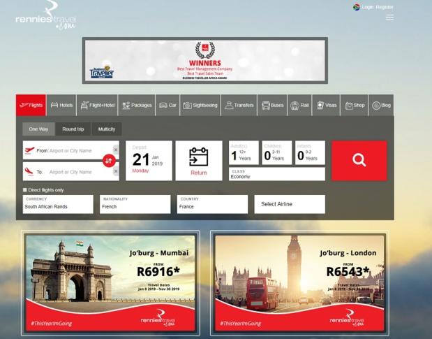 Basée en Afrique du Sud, Rennies Travel est spécialisée dans les voyages d'affaires, de groupe, de loisirs et les technologies du voyage, intégrée au groupe Bidvest - DR : Capture d'écran Rennies Travel