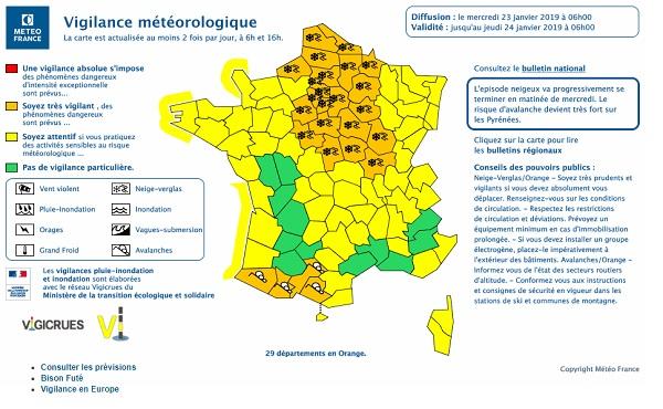 Météo France : 25 départements en vigilance neige ce mercredi 23 janvier 2019 - Crédit photo : Météo France