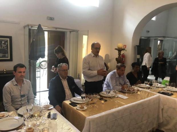 Jean-Pierre Pinheiro (OT du Portugal), René-Marc Chikli (SETO), Jean-Pierre Mas et Mumtaz Teker (EDV) et Hamida Rezeg (Région Ile-de-France) lors de la conférence de presse à l'occasion des Journées des Entrepreneurs du Voyage à Madère - Photo EDV Facebook