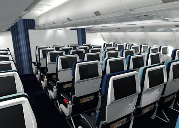 En Economy, l'appareil prévoit davantage d'espace entre les accoudoirs, une mousse ergonomique renforcée et une inclinaison à 118° pour le siège - DR : Air France