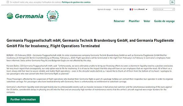 Low cost, Germania met fin à ses activités - Crédit photo : capture écran du site flygermania.com