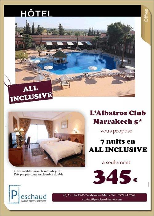PESCHAUD TRAVEL vous propose 7 nuits à l'Albatros Club Marrakech 5* à seulement 345€