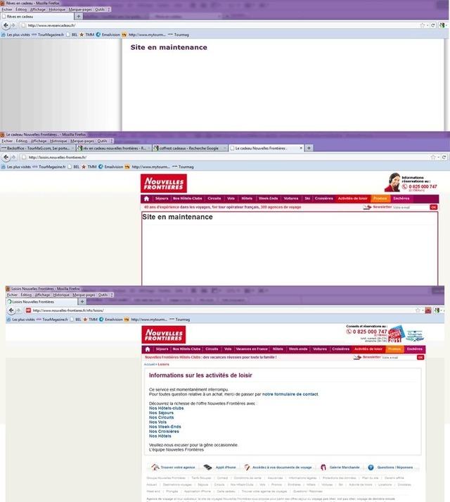 """En haut, la home page du site Rêves en cadeau indiquant """"en maintenance"""", inscription que l'on retrouvait jeudi après-midi dans l'onglet """"activités de loisir"""" du site de Nouvelles Frontières. Depuis un message indique que le service est interrompu"""