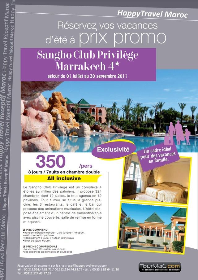 HAPPY TRAVEL MAROC : OFFRE CLUB SANGHO MARRAKECH!