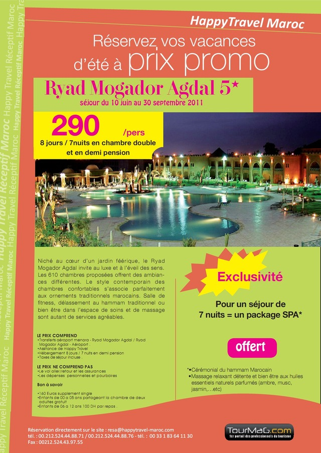 HAPPY TRAVEL MAROC : OFFRE RYAD MOGADOR AGDAL!