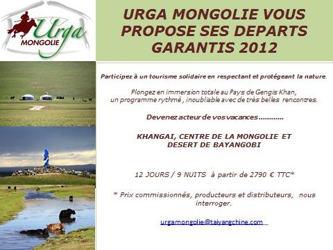URGA MONGOLIE VOUS PROPOSE SES DEPARTS GARANTIS!
