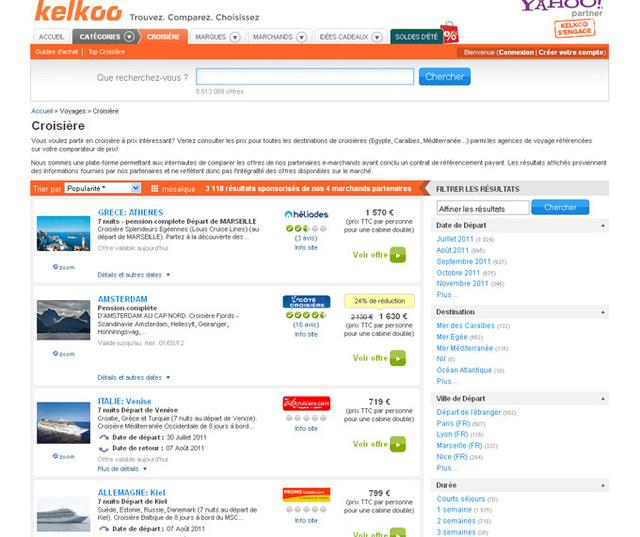 Offre voyages : partenariat LastMinute, PromoCroisière, CampingPromo et Kelkoo