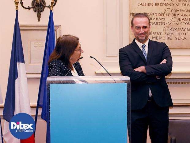 Dominique Vlasto, adjointe du Maire de Marseille, chargée du Tourisme et Jean-François Suhas, Président du Club de la Croisière Marseille Provence lors de la soirée d'ouverture du DITEX à la Mairie de Marseille en 2018 - DR