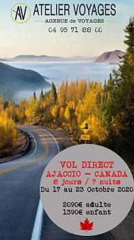 Atelier Voyages lance le Canada au départ d'Ajaccio