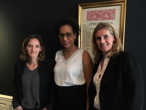Myriam Alcandre, responsable emploi et formation de la FNAM, Muriel Caristan, déléguée générale de l'AFMAé et directrice du CFA des Métiers de l'Aérien et Christine Pelliet, responsable communication et sourcing. - CL