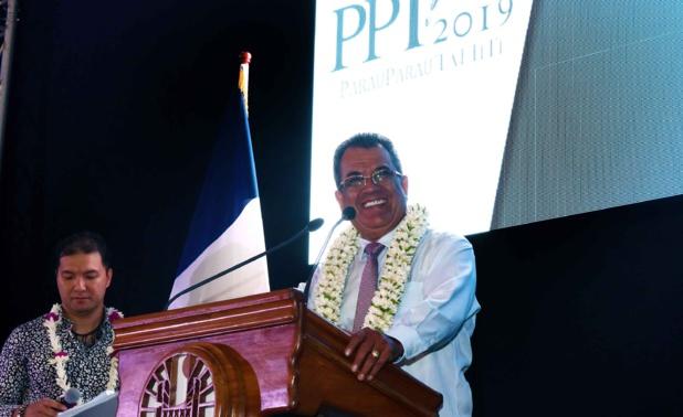 Edouard Fritch, président du Gouvernement de Polynésie, lors du discours d'ouverture du Parau Parau 2019 /crédit photo Tahiti Tourisme
