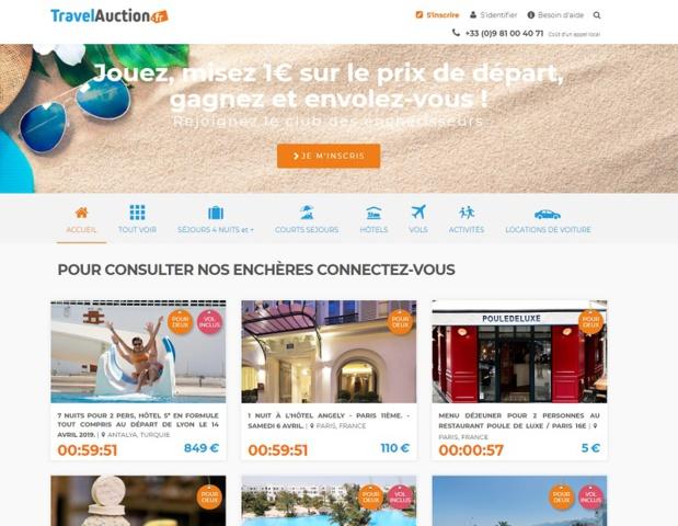TravelAuction.fr, le site de ventes aux enchères sur des produits déstockés sera lancé le 1er juin 2019 - DR : Capture d'écran TravelAuction.fr