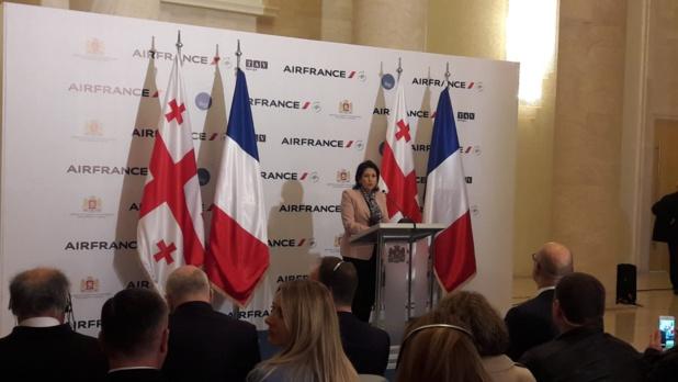 Salomé Zourabichvili, présidente géorgienne, lors de la cérémonie inaugurale dimanche 31 mars 2019 - DR : Air France