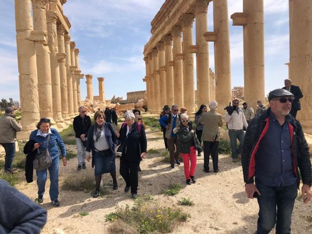 Depuis huit ans, aucun touriste n'était revenu à Palmyre. Odeia a fait partir, début mars, un premier groupe de voyageurs sur ce site historique - DR : Odeia