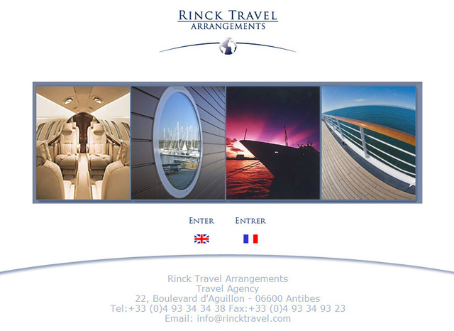 Le site web de l'agence Rinck Travel Arrangements