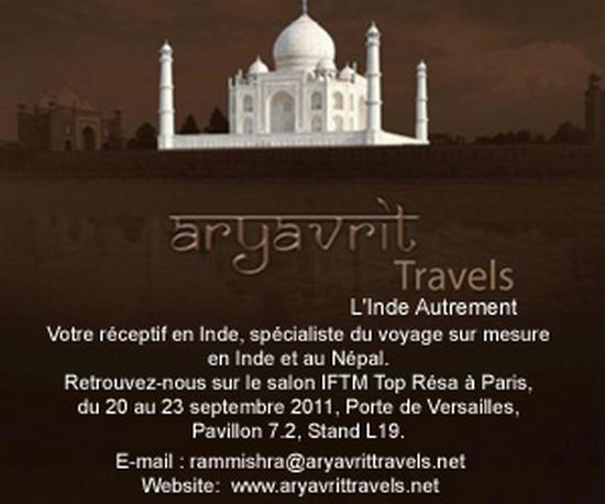 ARYAVRIT TRAVELS est heureux de vous informer de sa présence cette année au salon TOP RESA/IFTM 2011 qui se déroule Porte de Versailles -Pavillon 7.2 stand L19