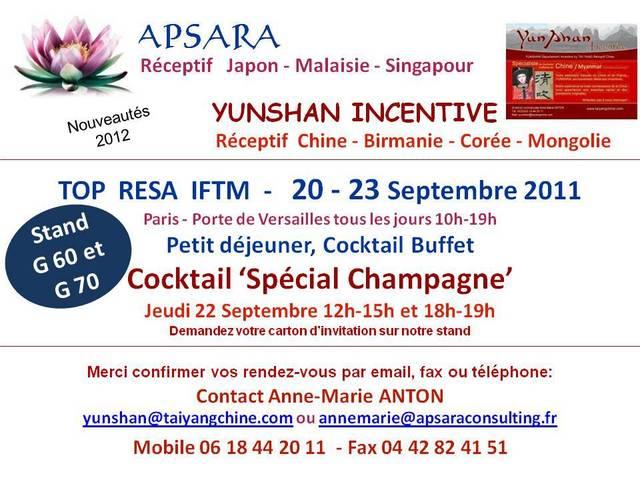 APSARA  CONSULTING : Réceptifs Asie sera présent à TOP RESA !