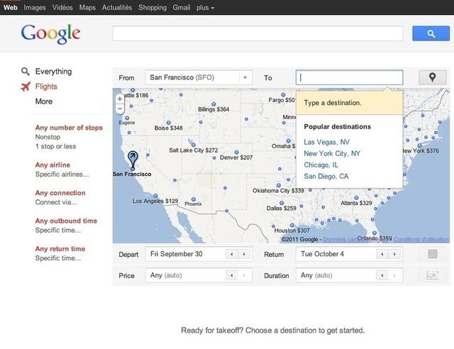 Google lance son comparateur de prix de billets d'avion : Flight Search.