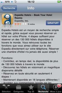 Réservation hôtelière : Expedia lance son application mobile