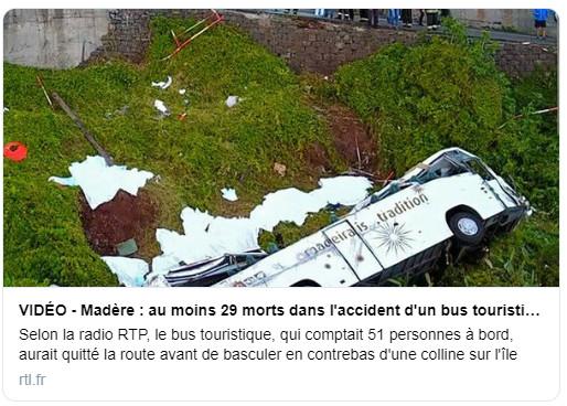 Madère : 29 morts dans un accident d'autocar