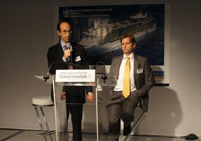 Adam Goldstein, PDT et CEO Worldwide de RCCL et Frédéric Martinez DG France lors de la conférence de presse qui s'est tenue à l'IFTM Top Resa