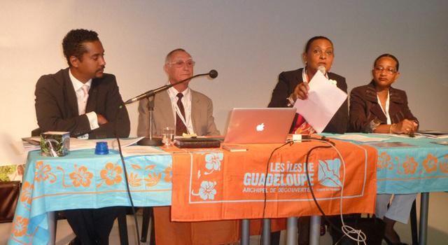 De gauche à droite, Willy Rosier, directeur général du Comité du Tourisme des îles de la Guadeloupe, Nicolas Vion, représentant du syndicat des hôteliers, Josette Borel-Lincertin, présidente du CTIG et Hélène Polifonte, présidente de la Commission Tourisme au Conseil Régional - DR : M.SANI