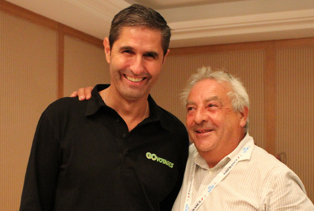 Carlos da Silva, PDG de GO Voyages avec le grand gagnant de la soirée, Boris Reibenberg - DR : Flashmat