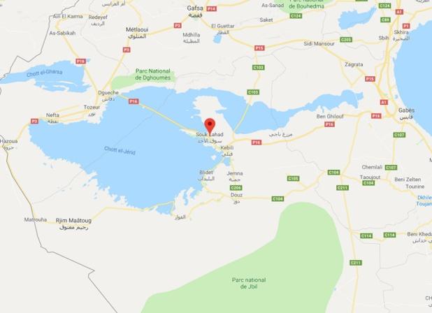 La circulation est perturbée sur la route P16 entre Tozeur et Kébili. - GR Google Maps