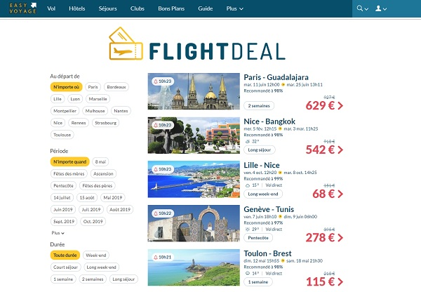 """FlightDeal : Easyvoyage lance le 1er comparateur de vols par """"opportunité"""" - Crédit photo : Easyvoyage"""