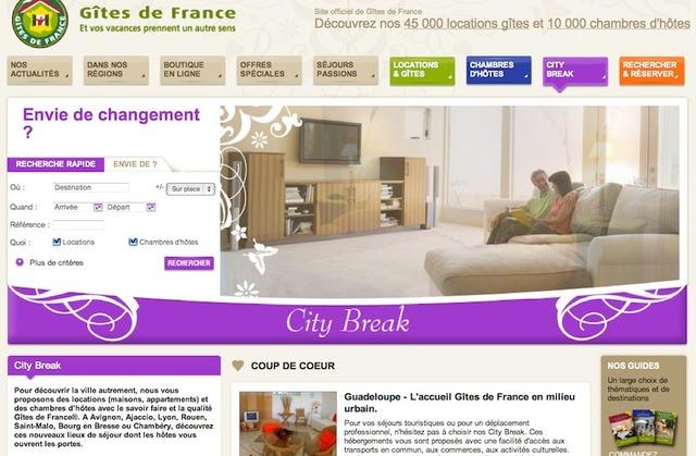 La page web des séjours city break, qui propose des hébergement en ville. Un site internet spécifique sera lancé au printemps 2012.