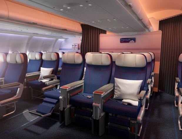 La cabine Premium Economy propose 21 sièges, avec plus d'espace privé et un accoudoir central élargi - DR : Brussels Airlines