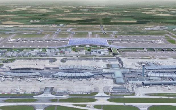 Le futur terminal 4 de Roissy (au second plan selon ce plan d'architecte) pourrait créer plus de 40 000 emplois à l'horizon 2037 selon une étude du GIP Emploi Roissy dévoilée en avril 2019. - DR ADP