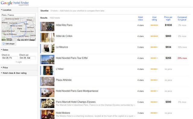 Google Hotel Finder débarque en France