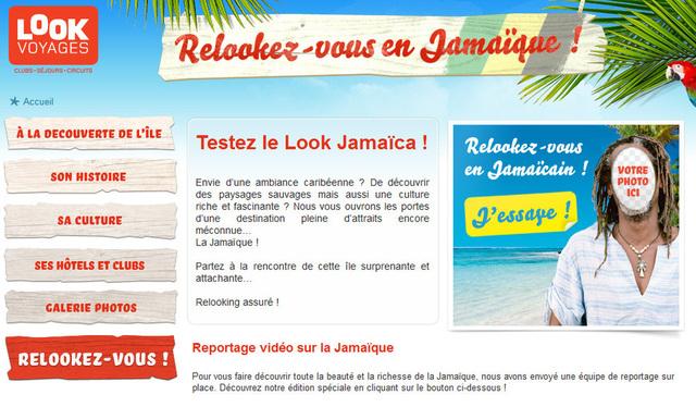 Le mini-site lancé par Look Voyages et dédié à la Jamaïque.