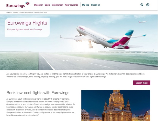 Les vols Eurowings peuvent désormais être combinés avec ceux de Norwegian Air Shuttle et SunExpress - DR : Eurowings Flight