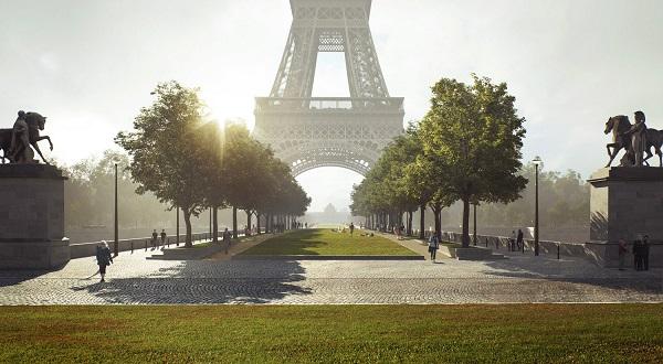 JO 2024 : 54 hectares piétonnisés et végétalisé autour de la Tour Eiffel - Crédit photo : Cabinet Gustafson Porter