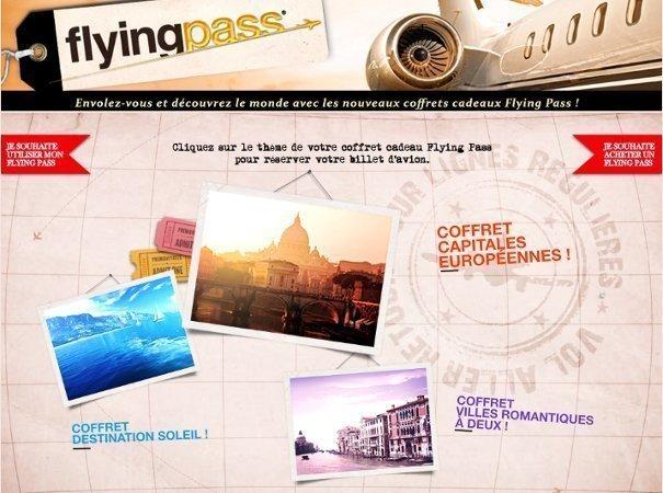 Le Flying Pass est un coffret cadeau contenant un billet d'avion. Celui-ci se décline en trois thématiques. Photo DR