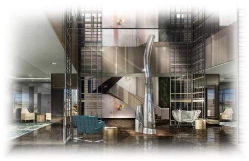 Dessin du futur lobby du Sofitel Los Angeles