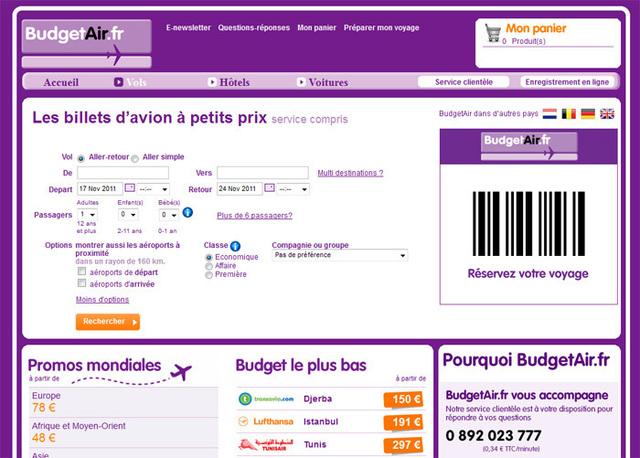 Le site BudgetAir.fr a été lancé par le groupe Travix en France en mars dernier. Photo DR