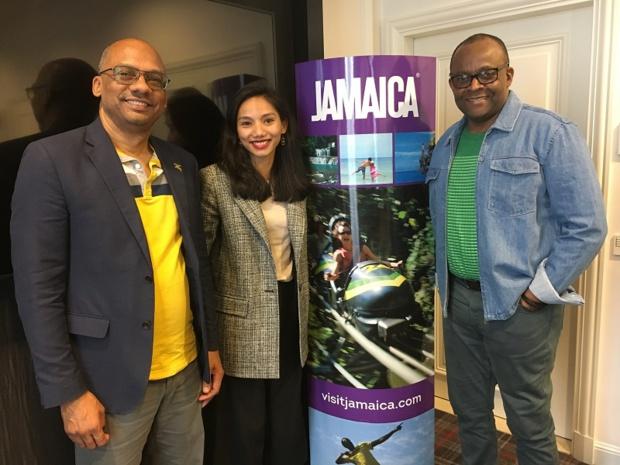 Gregory Shervington, directeur du marché Europe Continentale du Jamaica Tourist Board, Gita Ayudya-Cumbo de l'agence Keys by Indigo et Donovan White, Directeur du Jamaica Tourist Board. - CL