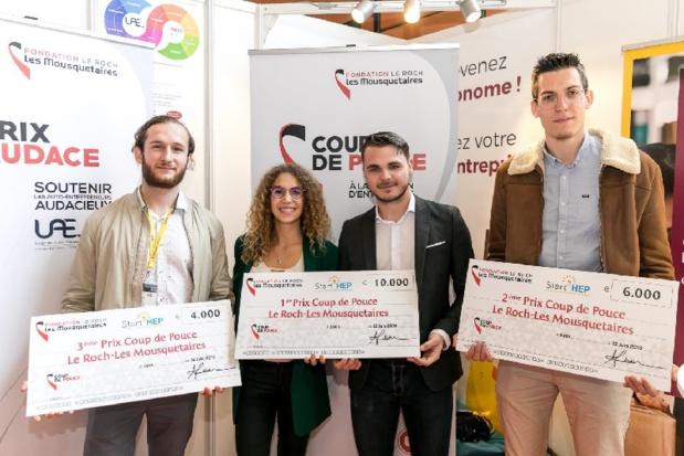 """Les 3 lauréats du concours de start-up """"coup de pouce"""" - DR"""