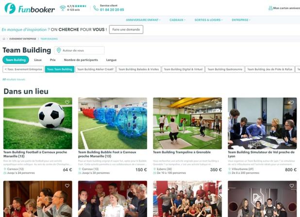 Le site propose désormais plus de 200 activités et expériences à destination des entreprises et de leurs équipes - DR : Funbooker