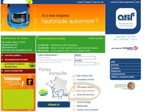 Résa hôtels : partenariat ASF et Bookings sur www.asf.fr