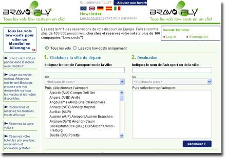 Moteur Low Cost : BravoFly.fr débarque en France